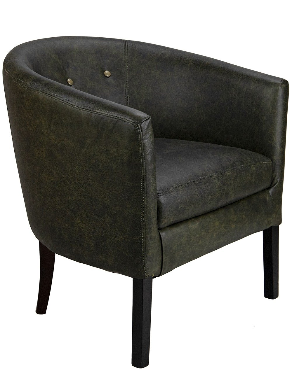 Ambassador Tub Chair with shallow button detail from a 45 degree angle